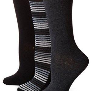 No Nonsense Women's Flat Knit Crew Sock, 3 Pair Pack