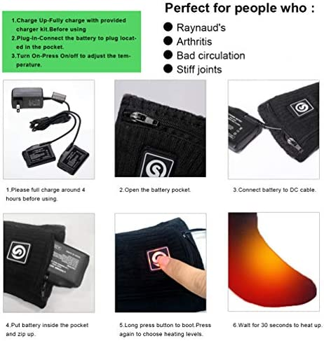 Heated Socks for Women Men,Foot Warmers Electric Rechargable Battery Heating Socks,Winter Cold Feet Hunting Ski Camping Hiking Riding Motorcycle Snowboating Thermal Warm Socks 6