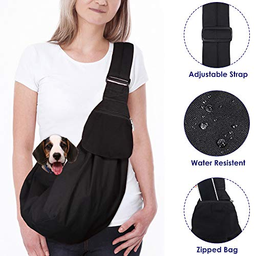 AutoWT Dog Padded Papoose Sling, Small Pet Sling Carrier Hands Free Carry Adjustable Shoulder Strap Reversible Outdoor Tote Bag with a Pocket Safety Belt Dog Cat Carrying Traveling Subway 1