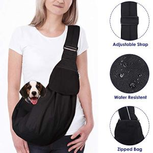 AutoWT Dog Padded Papoose Sling, Small Pet Sling Carrier Hands Free Carry Adjustable Shoulder Strap Reversible Outdoor Tote Bag with a Pocket Safety Belt Dog Cat Carrying Traveling Subway