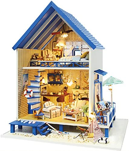 Architecture Model Building Kits with Furniture LED Music Box Miniature Wooden Dollhouse omantic Aegean Sea Series 3D Puzzle Challenge