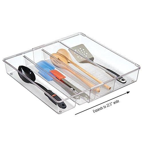 Best kitchen drawer organizers declutter organize mdesign expandable kitchen drawer organizer for silverware spatulas gadgets 16 workwithnaturefo