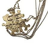 Lux Accessories Burnish Gold Always Together Puzzle Best Friends BFF Necklace
