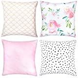 Woven Nook Decorative Throw Pillow Covers ONLY for Couch, Sofa, or Bed Set of 4 18 x 18 inch Modern Quality Design 100% Cotton Floral Polkadot Gold Metallic Pink Adelaide Set