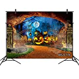 LB Halloween Pumpkin Backdrop Haunted Cemetery Ghost Moon Bat Photography Background Party Decorations 9x6ft Seamless Fabric Washable Photoshoot Props