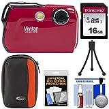 Vivitar ViviCam 8119 Digital Camera (Red) with 16GB Card + Case + Tripod + Kit