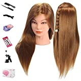 Mannequin Head, Beauty Star 20 Inch Long Gold Hair Cosmetology Mannequin Manikin Training Head Model Hairdressing Styling Practice Training Doll Heads with Clamp and Accessories