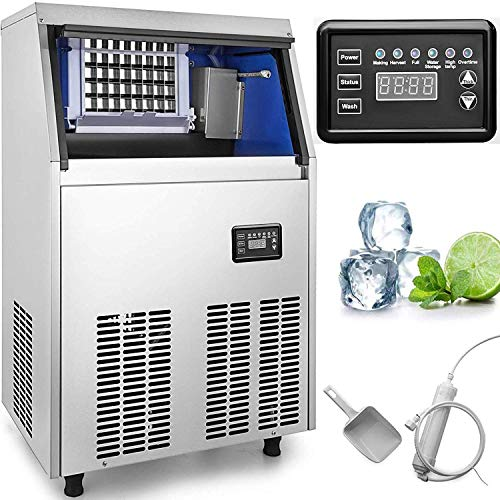 VEVOR 110V Commercial Ice Maker 88 LBS in 24 Hrs Stainless Steel with 33lbs Storage Capacity 32 Cubes Auto Clean for Bar Home Supermarkets, Includes Scoop and Connection Hose