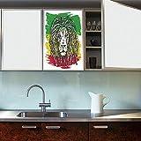 YOLIYANA Frosted Window Film Stained Glass Window Film,Rasta,Work Well in The Bathroom,Ethiopian African Culture Hair Style Lion Head Portrait,24''x36''