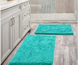 Bathroom Rugs 20' x 30' Set of 2 Non-Slip Extra Soft Chenille Bath Mat Super Absorbent Bath Rug Machine Washable Perfect Plush Carpet for Shower, Bath Room, Bedroom and Kitchen (20' x 30', Turquoise)