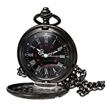 Product review of WIOR Black Classical Pocket Watch Retro Steampunk Pattern Quartz Numerals Pocket Watch with 14.5 in Chain for Xmas Birthday Fathers Day Gift