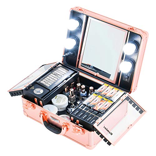 Kemier Makeup Train Case - Cosmetic Organizer Box Makeup Case with Lights and Mirror/Makeup Case with Customized Dividers/Large Makeup Artist Organizer Kit (Rose Gold)