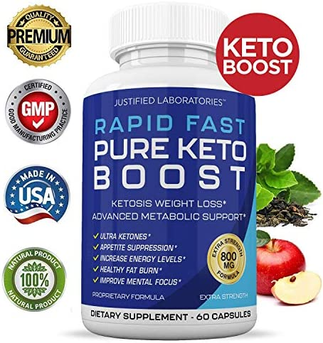 Rapid Fast Pure Keto Boost Pills Advanced BHB Ketogenic Supplement Exogenous Ketones Ketosis for Men Women 60 Capsules 1 Bottle 4