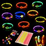 120PCs Glow Sticks Bracelets Set(Including 20PCs Glow Sticks and 100PCs Jewelry Beads)for Halloween Party Favors, Halloween Decorations and Glow in Dark Party Supplies