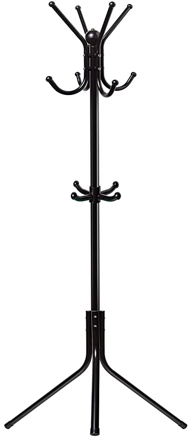 Oxgord Free Standing Coat Rack Entry Way Metal Base Tree Stand Holder With