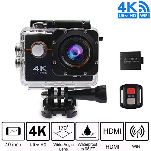Action Camera, 16MP WiFi Waterproof Sports Cam 100ft Diving Underwater Camera with 170 Degree Wide Angle 2 Inch LCD Screen, 1050mAh Rechargeable Battery and Accessories Kits
