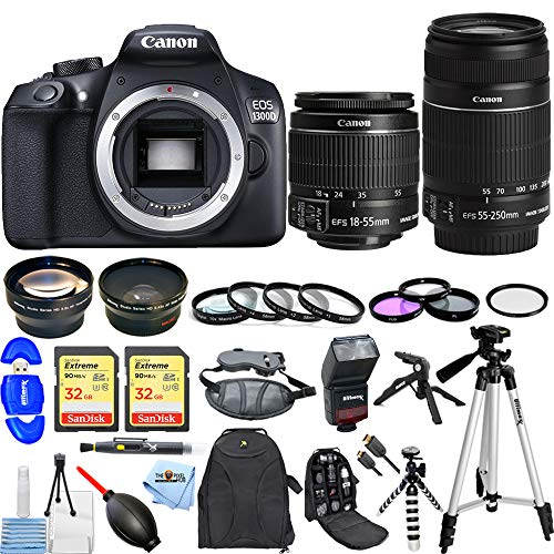 Canon-EOS-1300D-Rebel-T6-Camera-with-18-55mm-55-250mm-Mega-Bundle-Includes-Dual-Sandisk-32GB-SD-Macro-Close-Up-Filter-Kit-TTL-Flash-57-Tripod-Backpack-and-Much-More-International-Version