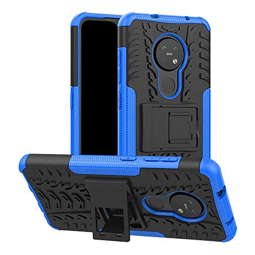 Soezit Kick Stand Cover Back Hard with Stand Back Cover for Nokia 6.2 (Blue) 1