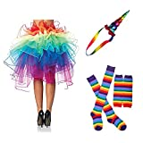 80s Fancy Dress Costume Accessories for Women Neon Earrings Leg Warmers Gloves (E)