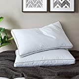 Yalamila White Bed Pillows for Sleeping with 100% Cotton Fabric Cover-Goose Duck Down Feather Filling-Hotel Collection Fluffy Feather Pillows-Set of 2 Down Pillows-Standard Size