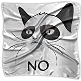 Bandana Head and Neck Tie Neckerchief,Cat Face Portrait Says No Grumpy Social Character Kitty Domestic Artful Image 39.3IN