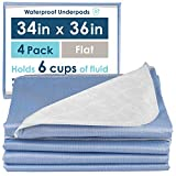 4 Pack of Washable Bed Pads for Incontinence, 34x36 Inches - Reusable Waterproof Mattress Sheet Protector Underpads