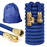 Garden Hose Water Hose 50FT Expandable with |3/4' Solid Brass Fittings 4 Layer Latex Core Extra Strength Fabric |Flexible Water Hose Portable Storage Bag |for Lawn Car Watering Nice Gift for Gardener