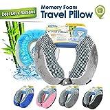 Cloudz Memory Foam Cool Gel & Bamboo Travel Neck Pillow - Grey