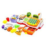 KIDAMI Pretend Play Cash Register Toy for Kids with Realistic Actions and Variety of Accessories(59 Piece)