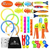 Kppalex Underwater Swim Pool Diving Toys - 30 Pcs Summer Swimming Dive Toy Sets - Water Rings,Sticks,Octopus,Torpedo Bandits,Fish & Balls for Kids