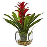 Nearly Natural 6897-RD Bromeliad with Glass Vase Arrangement, P