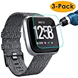 KIMILAR [3-Pack] Screen Protector Compatible with Versa/Versa Lite Edition Smartwatch, Waterproof Tempered Glass Screen Protector [9H Hardness] [Crystal Clear] [Scratch Resist] [No-Bubble]