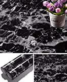 Yancorp Black Granite Wallpaper Marble Counter Top Film Vinyl Self Adhesive Peel-Stick Wallpaper (17.8'x78.7')