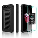 iPhone 8 Plus/iPhone 7 Plus case ZUSLAB New Armor Shield with Tempered Glass Screen Protector, Dual Layer Protection Heavy Duty Shockproof for Apple iPhone 8 Plus/iPhone 7 Plus (Black Carbon)