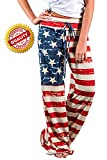 4th of July American USA Flag Womens Patriotic Pants Ladies Drawstring Trousers (Tag XXL(US 16), Picture Color)