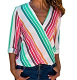 Product review of ▼Londony▼ Clearance Sale! Newest Autumn Ladies Button Long Sleeve Multicolor Stripe Blouse V-Neck Tops for Women