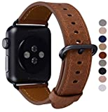 PEAK ZHANG Compatible with Apple Watch Band 42mm 44mm with Case, Men Women Genuine Leather Replacement Strap with Space Grey Adapter and Buckle for iWatch Series 4/3/2/1,Brown