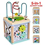 Gleeporte New | 5-in-1 Wooden Activity Play Cube | Deluxe Multi-Function Bead Maze Learning Toy for Toddlers and Kids | Ideal Gift