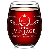 1959 60th Birthday Gifts for Women and Men Wine Glass - 60 Year Old Birthday Gifts, Party Favors, Decorations for Him or Her - Vintage Funny Anniversary Gift Ideas for Mom, Dad, Husband, Wife - 15oz