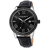 Father's Day Gift - Akribos Designer Men's Watch - Stylish Genuine Leather or Stainless Steel Bracelet Wristwatch (Black & Silver/Black)