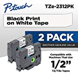 Brother Genuine P-touch, TZE2312PK, 1/2' (0.47') Standard Laminated P-Touch Tape, Black on White, Laminated for Indoor or Outdoor Use, Water Resistant, 26.2 Feet (8M), 2-Pack
