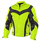 Xelement CF6019 Invasion Mens Neon Green Mesh Armored Motorcycle Jacket - X-Large