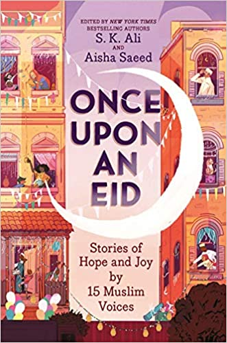 """This cover shows two tan buildings with open windows people lean out from most of either shouting, celebrating, making decorations or talking to one another. There is a large cresent moon between the two building that is white on a purple background that says the title in purple text """"Once Upon an Eid""""."""