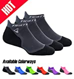 Thirty48 Ultralight Athletic Running Socks for Men and Women with Seamless Toe, Moisture Wicking, Cushion Padding (Small - Women 5-6.5 // Men 6-7.5, [3 Pairs] Black/Gray)