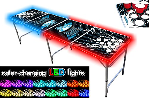 8-Foot Beer Pong Table w/Cup Holes & LED Glow Lights - Splash Edition