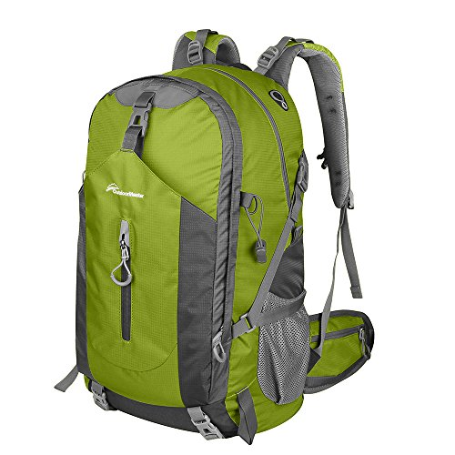 OutdoorMaster Hiking Backpack 50L - Weekend Pack w/ Waterproof Rain Cover & Laptop Compartment - for Camping, Travel, Hiking (Green/Grey)