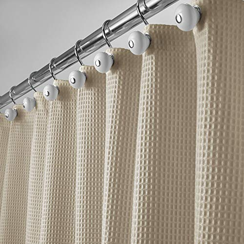 mDesign Cotton Blend, Luxury Hotel Fabric Shower Curtain - Extra-Long, 72' x 96', Beige