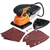 VonHaus Electric Palm Detail Sheet Sander with 14000 RPM, 6 Sanding Sheets, Compact and Lightweight with Dust Extraction System and 6ft Power Cord for Hard to Reach Spots and Restoring Furniture