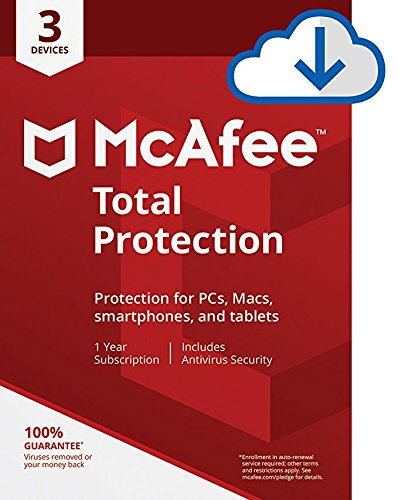 McAfee Total Protection Antivirus  Internet Security  3 Device  1 Year Subscription  PC/Mac Download 2019 Ready