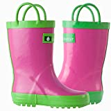 Oakiwear Rain Boots For Kids Boys Girls Waterproof Rubber Boots For Toddlers Children Shoes Handles